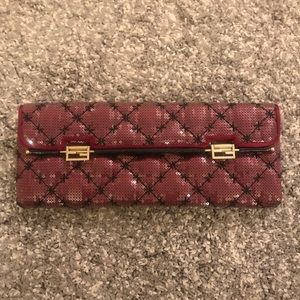 Fendi sequined magenta clutch